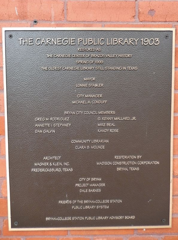 Carnegie Public Library: 1999 Restoration Plaque image. Click for full size.