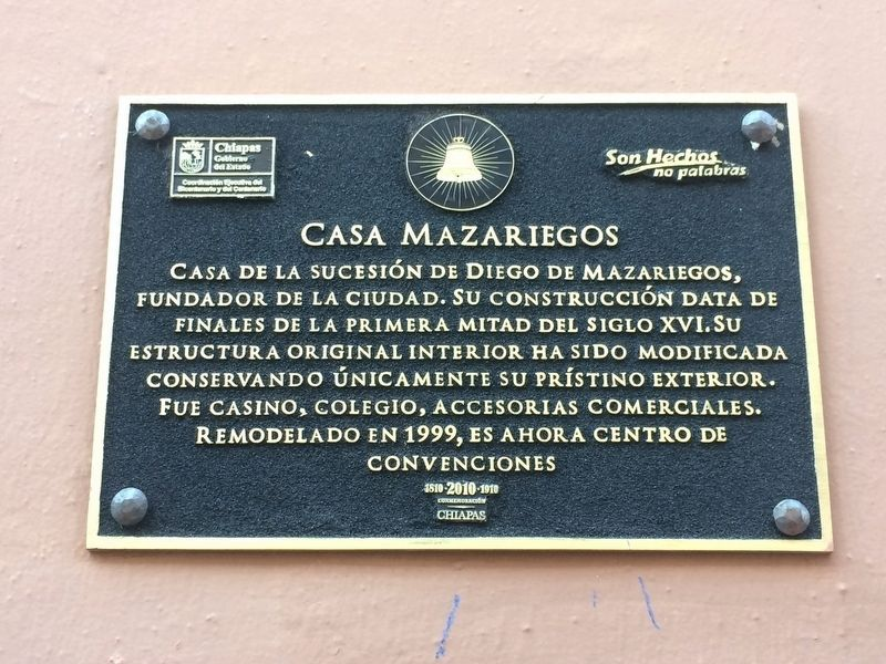 The Mazariegos House Marker image. Click for full size.