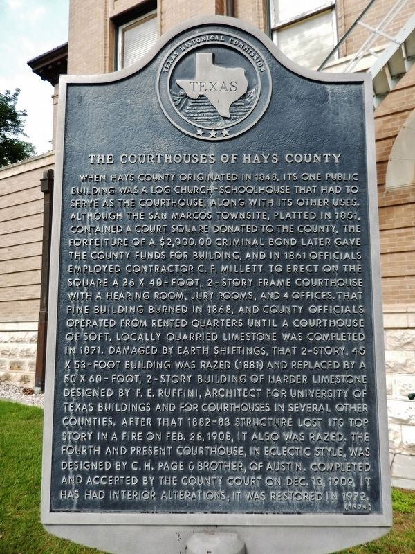 The Courthouses of Hays County Marker image. Click for full size.