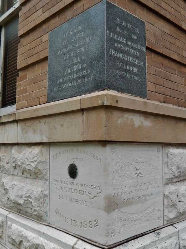 Hays County Courthouse (<i>1882 cornerstone</i>) image. Click for full size.