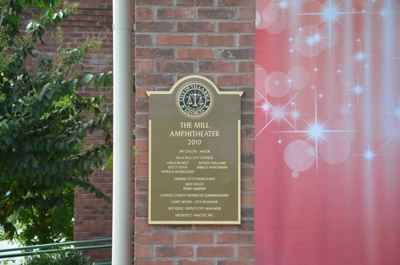 The Mill Amphitheater Plaque image. Click for full size.