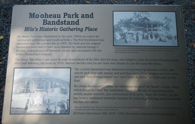 Mo'oheau Park and Bandstand Marker image. Click for full size.
