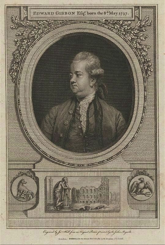 Edward Gibbon (Frontispiece from <i>The History of the Decline and Fall of the Roman Empire</i>) image. Click for full size.