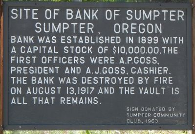 Site of Bank of Sumpter Marker image. Click for full size.