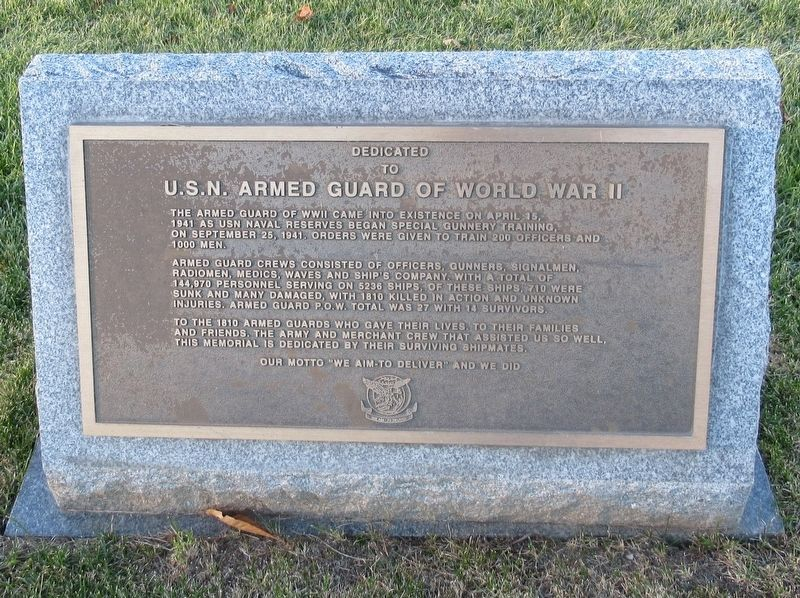 U.S.N. Armed Guard of World War II Marker image. Click for full size.