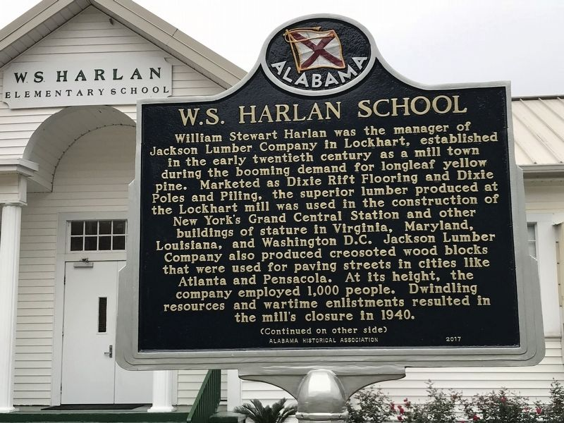 W.S. Harlan School Marker (front) image. Click for full size.