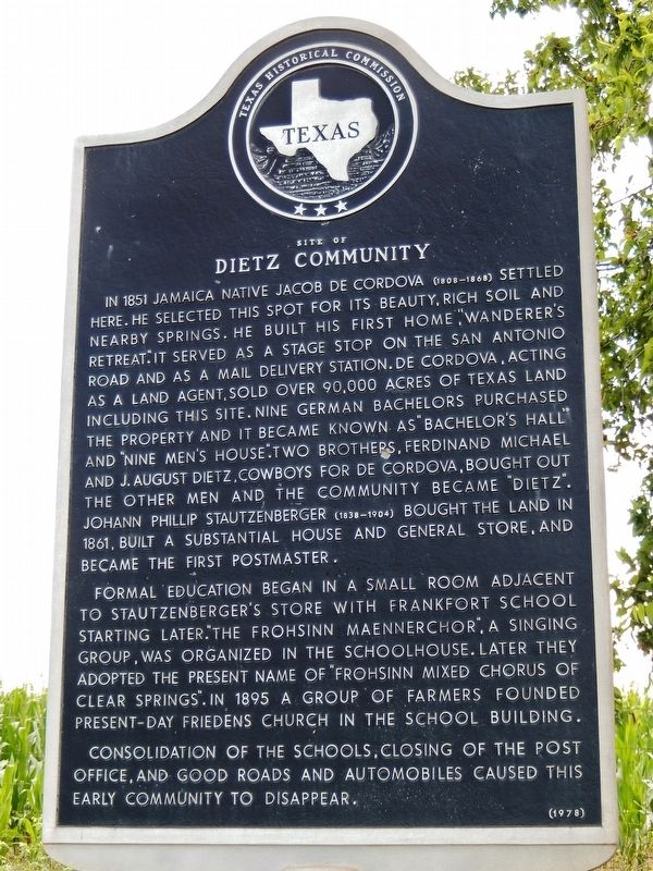 Site of Dietz Community Marker image. Click for full size.