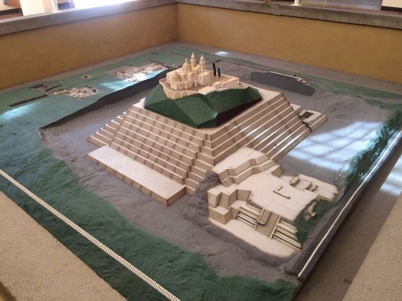 A model of the Great Pyramid of Cholula from the Museum image. Click for full size.