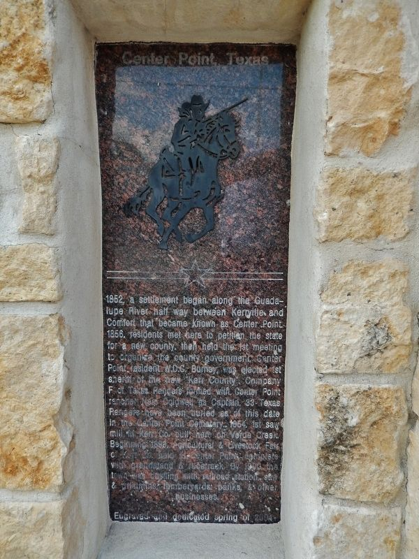 Center Point, Texas Marker image. Click for full size.