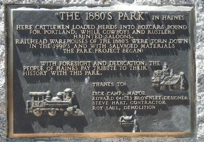 """The 1880's Park"" in Haines Marker image. Click for full size."