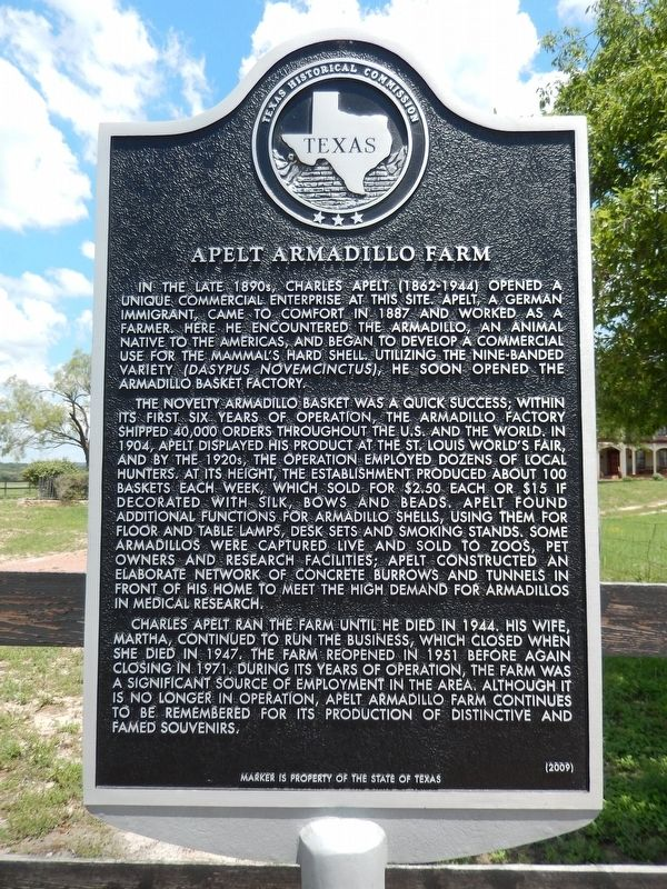 Apelt Armadillo Farm Marker image. Click for full size.