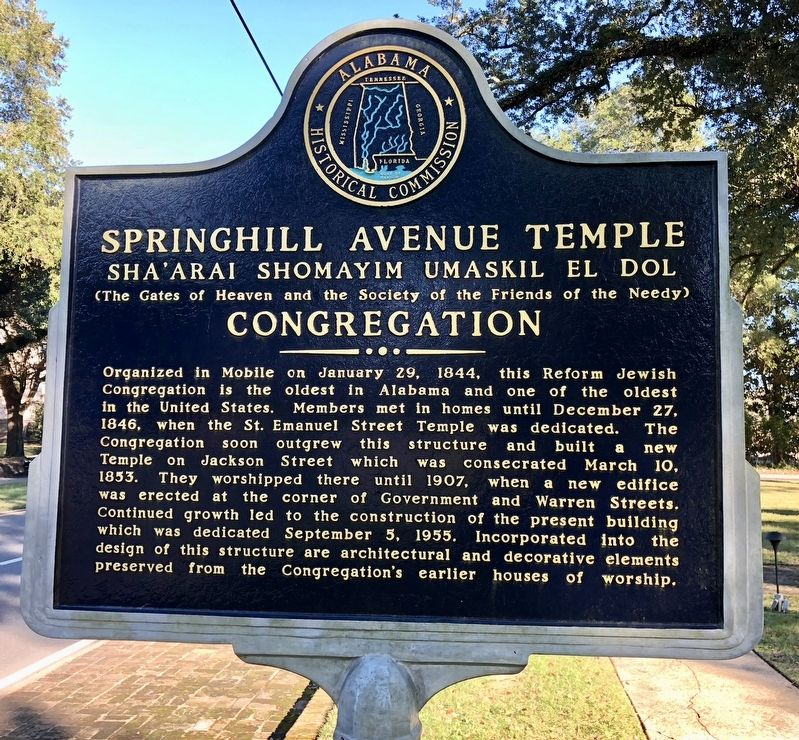 Springhill Avenue Temple Congregation Marker image. Click for full size.