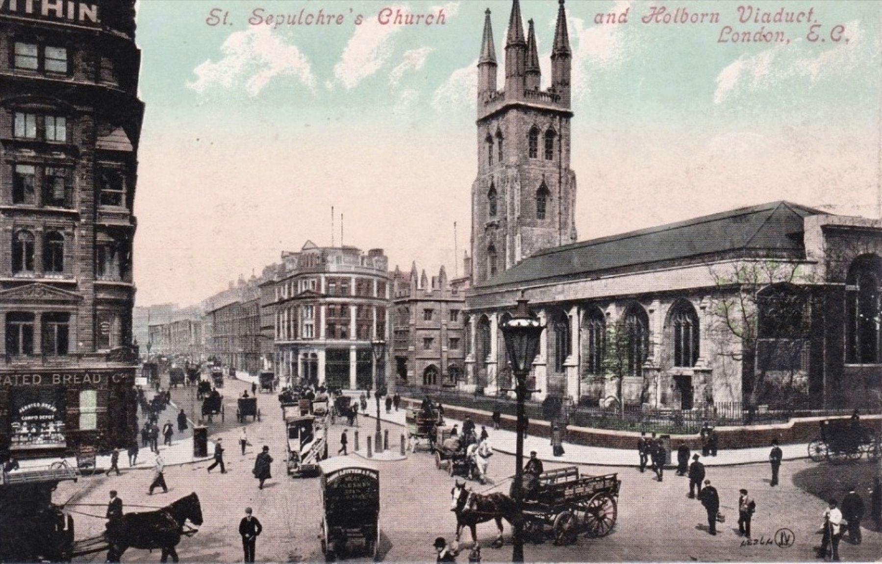 <i>St. Sepulchre&#39;s Church and Holborn Viaduct, London, E.C.</i> image. Click for full size.
