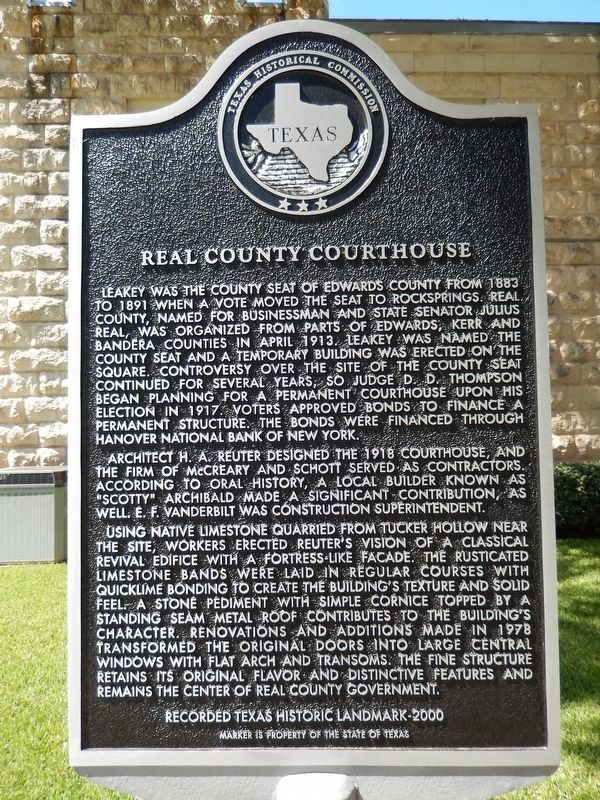 Real County Courthouse Marker image. Click for full size.