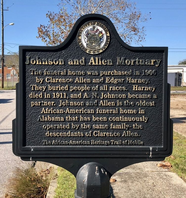 Johnson and Allen Morturary Marker image. Click for full size.