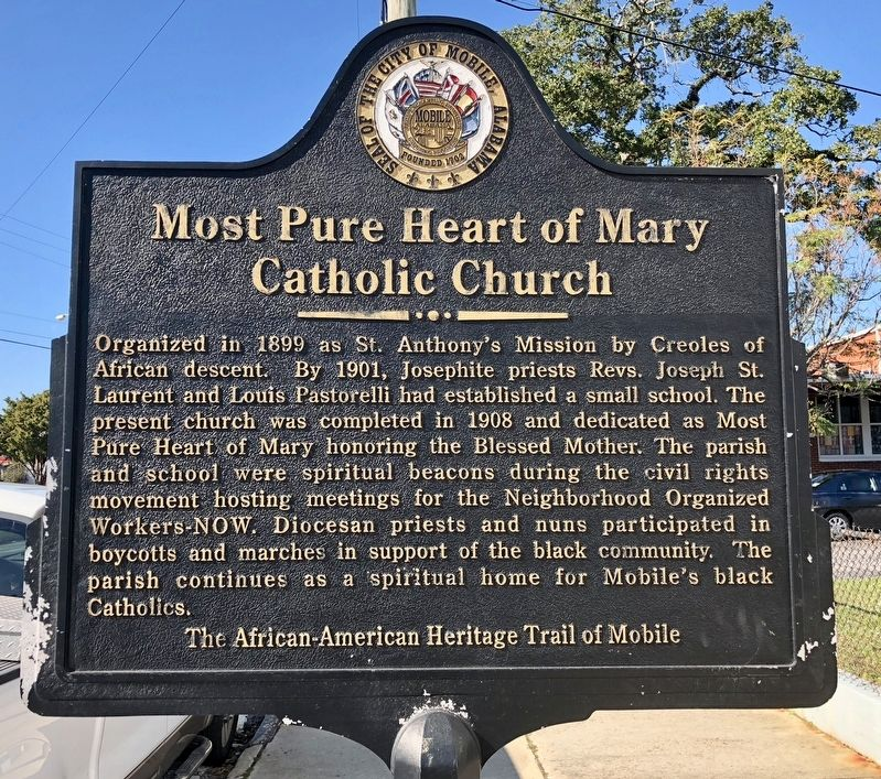 Most Pure Heart of Mary Catholic Church Marker image. Click for full size.