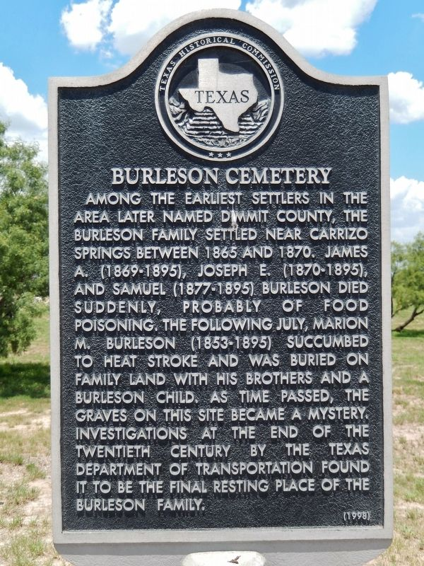 Burleson Cemetery Marker image. Click for full size.