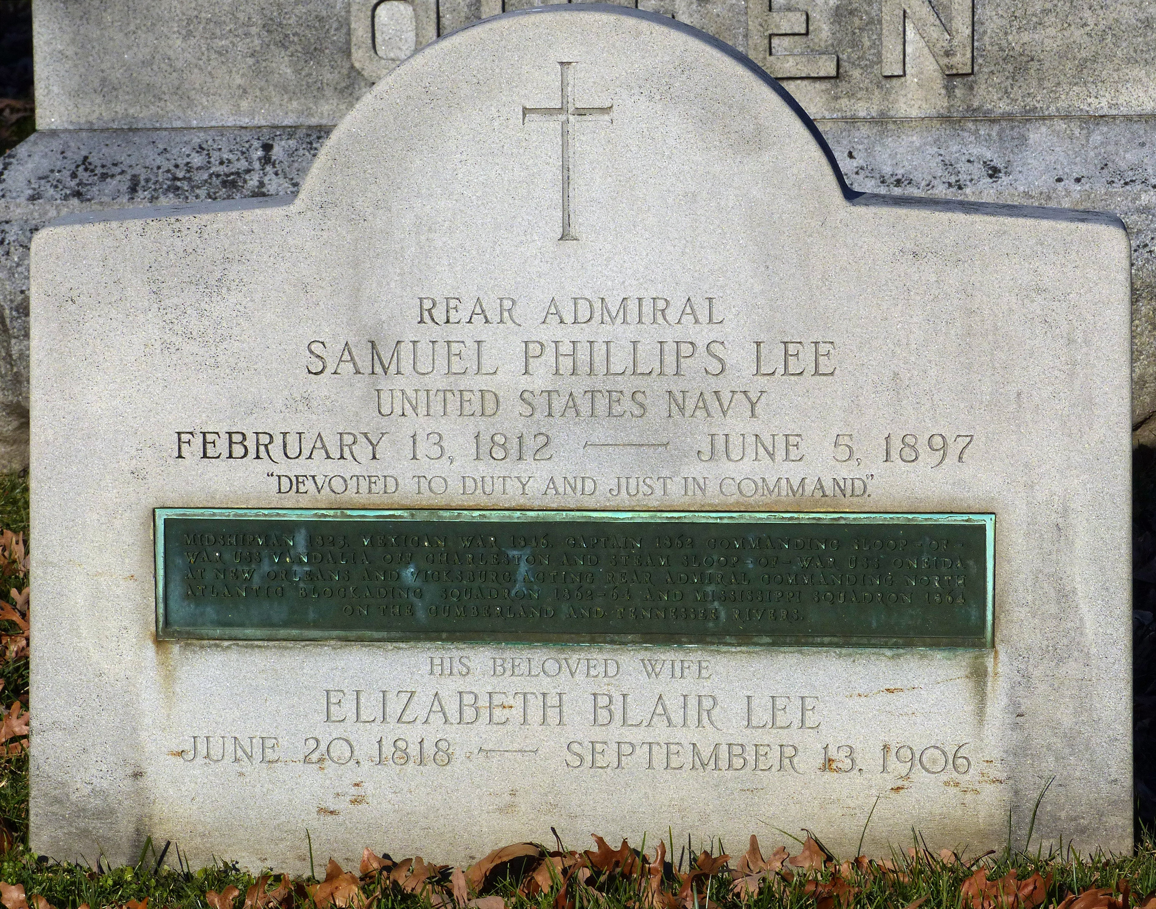 The Grave of R. Adm. Samuel Phillips Lee and Elizabeth Blair Lee in Arlington National Cemetery