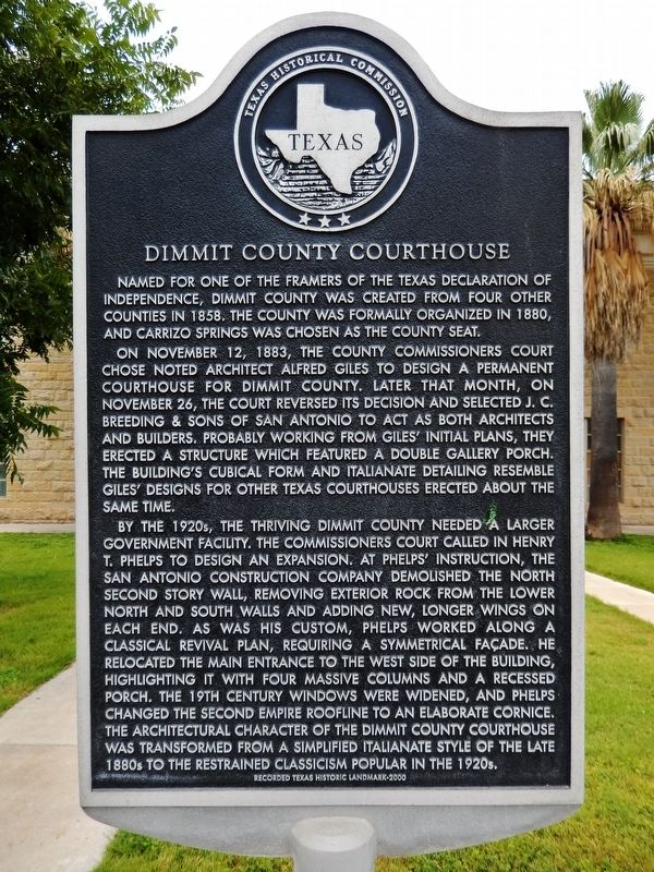 Dimmit County Courthouse Marker image. Click for full size.