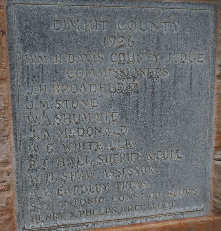 Dimmit County Courthouse (<i>1926 cornerstone</i>) image. Click for full size.