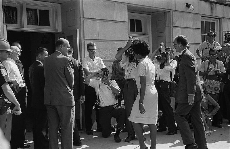 <i>Vivian Malone entering Foster Auditorium to register for classes at the University of Alabama</i> image. Click for full size.