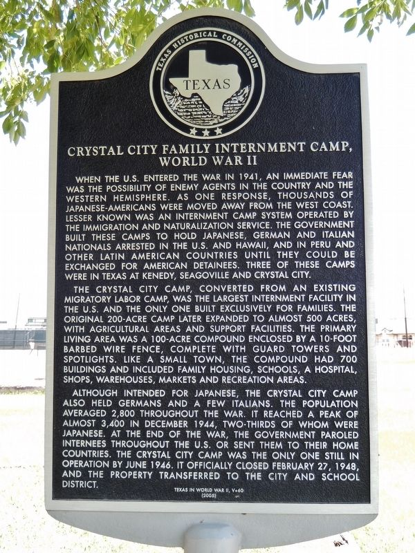Crystal City Family Internment Camp Marker image. Click for full size.