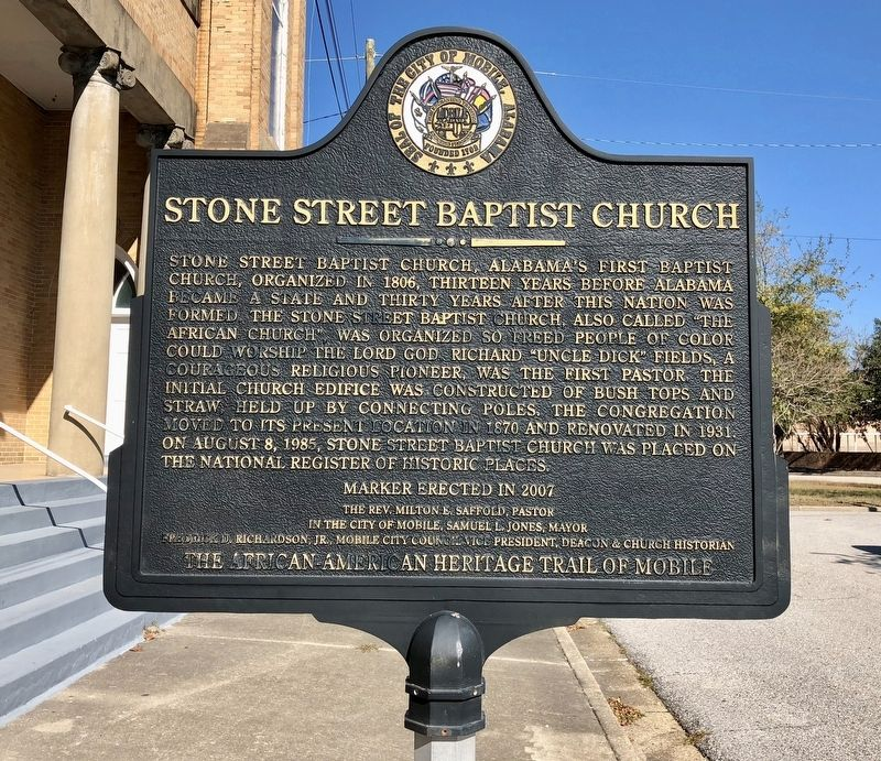 Stone Street Baptist Church Marker image. Click for full size.