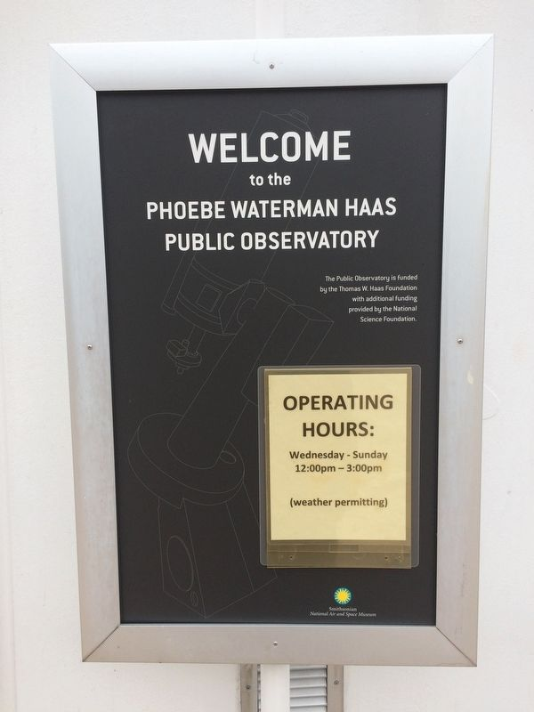 Welcome to the Phoebe Waterman Haas Public Observatory Sign image. Click for full size.