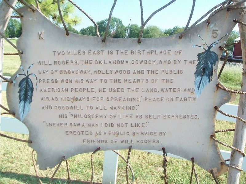 Will Rogers Birthplace Marker image. Click for full size.