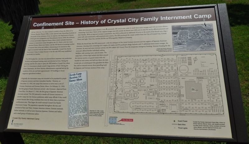 Confinement Site - History of Crystal City Family Internment Camp Marker image. Click for full size.