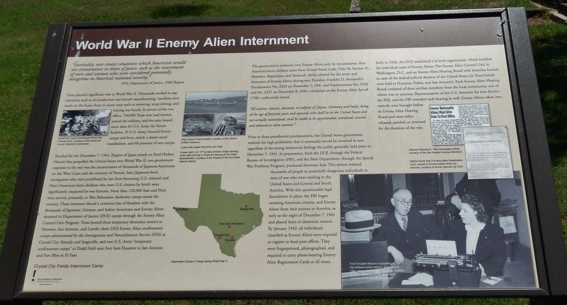 World War II Enemy Alien Internment Marker image. Click for full size.