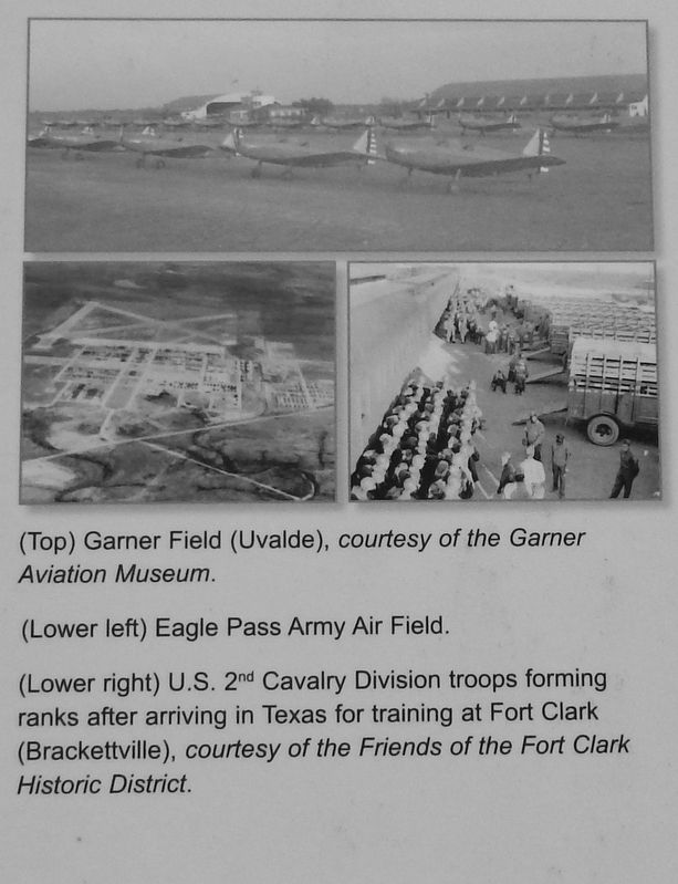 Marker detail: Garner Field, Eagle Pass Army Air Field and Fort Clark image. Click for full size.