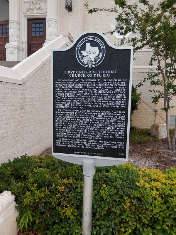First United Methodist Church of Del Rio Marker (<i>tall view</i>) image. Click for full size.