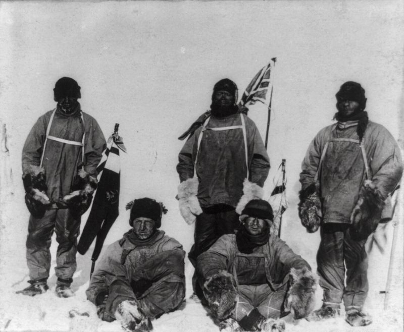 Expedition members at the South Pole image. Click for full size.