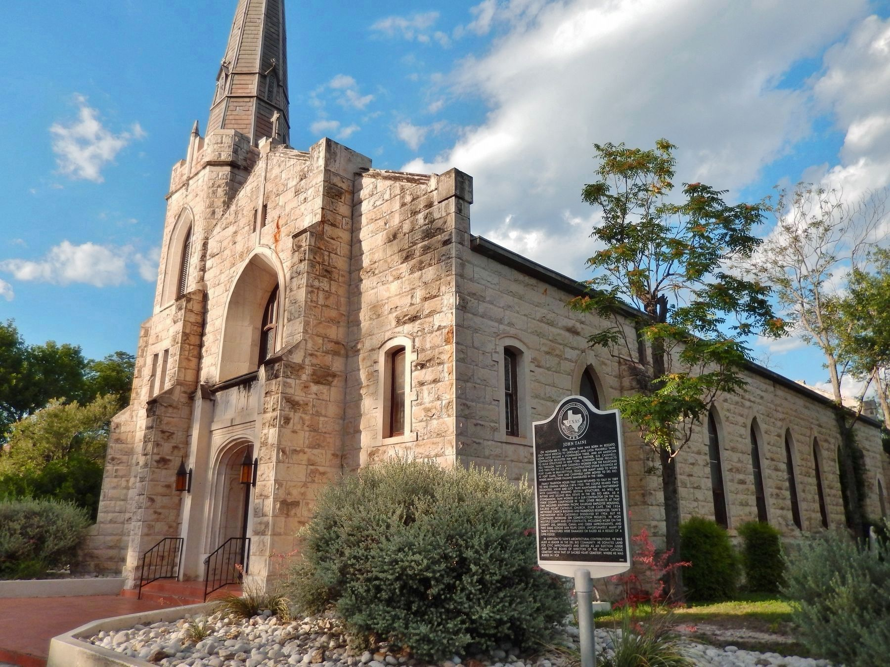 Sacred Heart Catholic Church (<i>wide view showing related marker about the stonemason, Taini</i>) image. Click for full size.