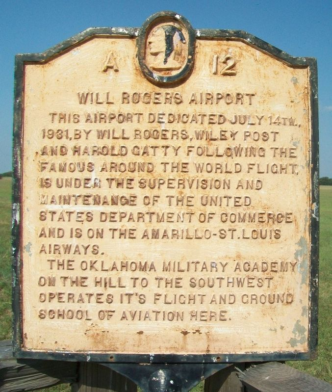 Will Rogers Airport Marker image. Click for full size.