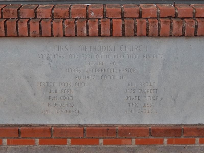 First Methodist Church Cornerstone image. Click for full size.