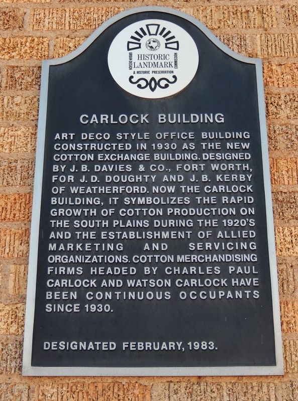 Carlock Building Marker image. Click for full size.