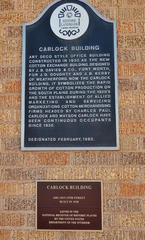 Carlock Building Marker (<i>tall view</i>) image. Click for full size.