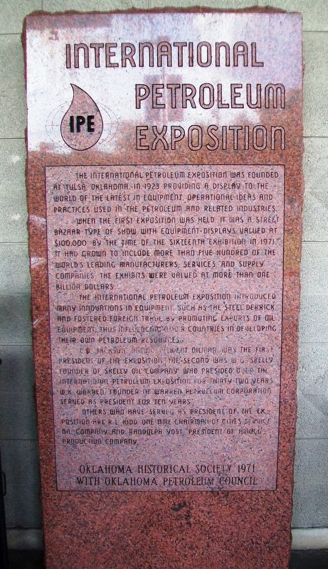 International Petroleum Exposition Marker image. Click for full size.