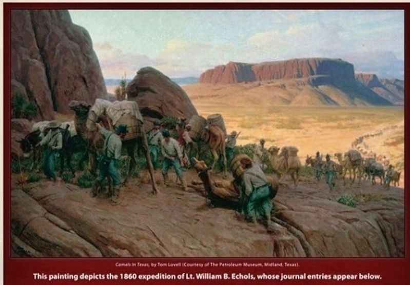 Painting depicts the 1860 expedition of Lt. William B. Echols, whose journal entries appear below: image. Click for full size.