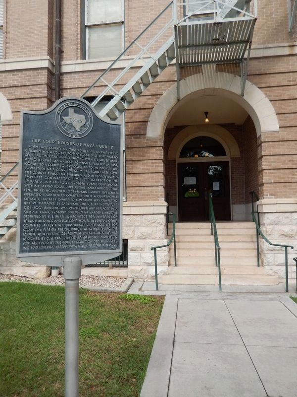 The Courthouses of Hays County Marker (<i>tall view</i>) image. Click for full size.