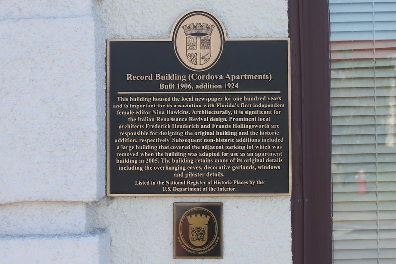 Record Building (Cordova Apartments) Marker image. Click for full size.