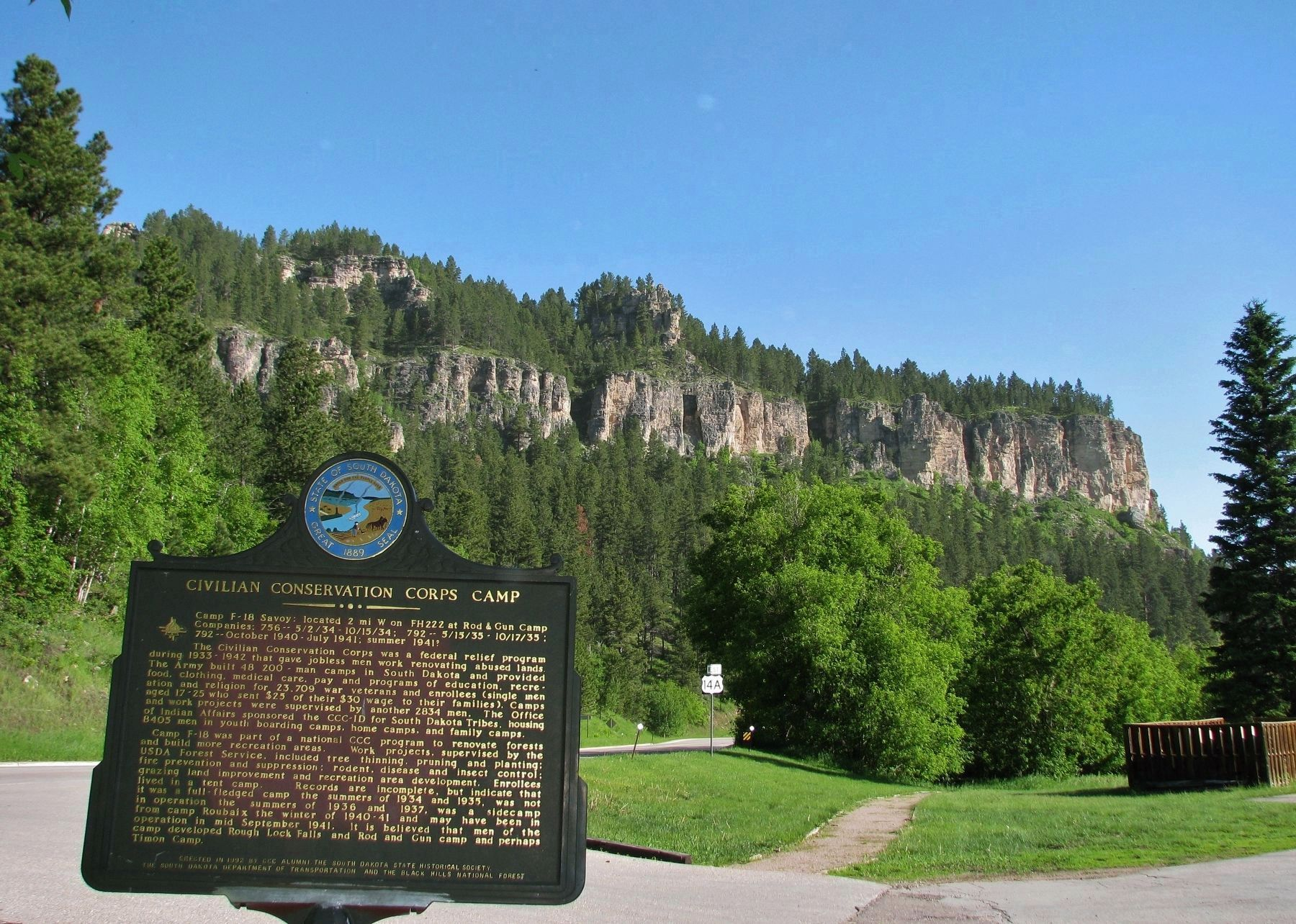 Civilian Conservation Corps Camp Marker (<i>wide view north through Spearfish Canyon</i>) image. Click for full size.