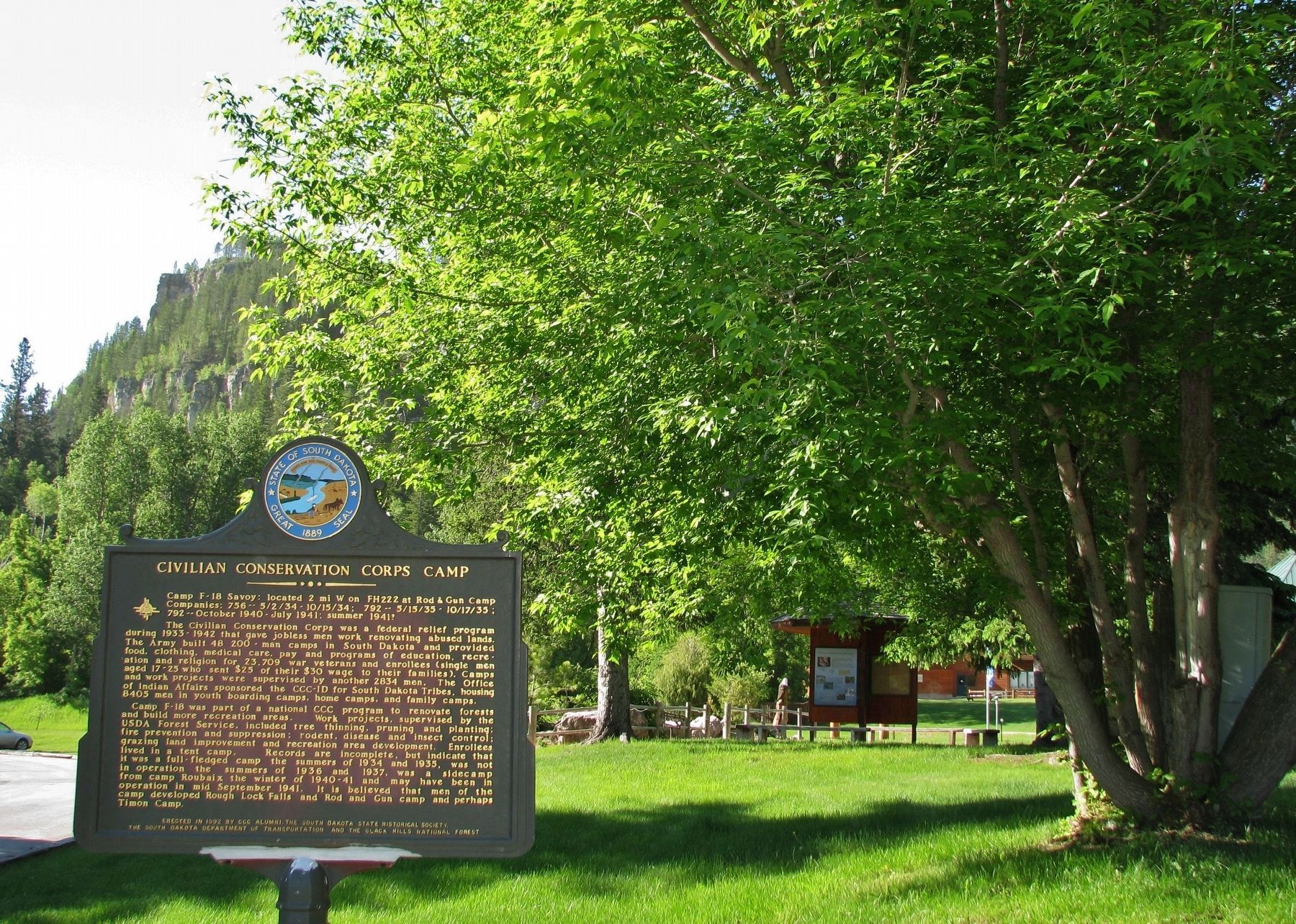 Civilian Conservation Corps Camp Marker (<i>wide view south to Roughlock Falls</i>) image. Click for full size.