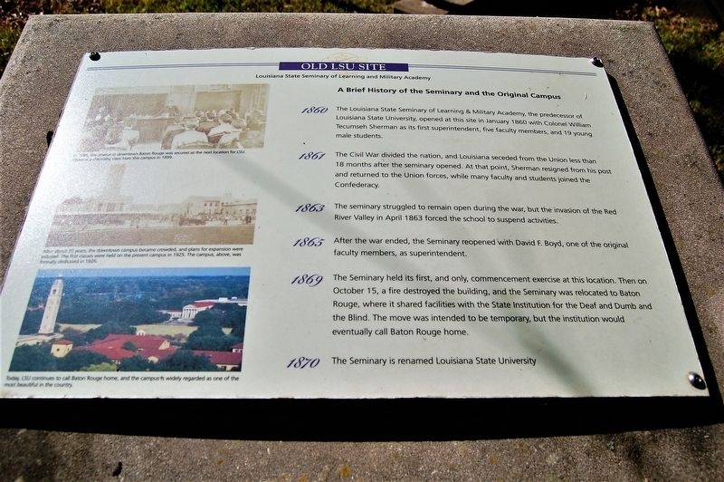 A Brief History of the Seminary and the Original Campus Marker image. Click for full size.