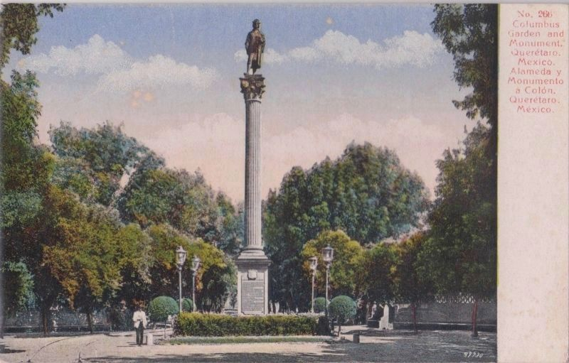 A postcard of the monument to Columbus in its previous location image. Click for full size.