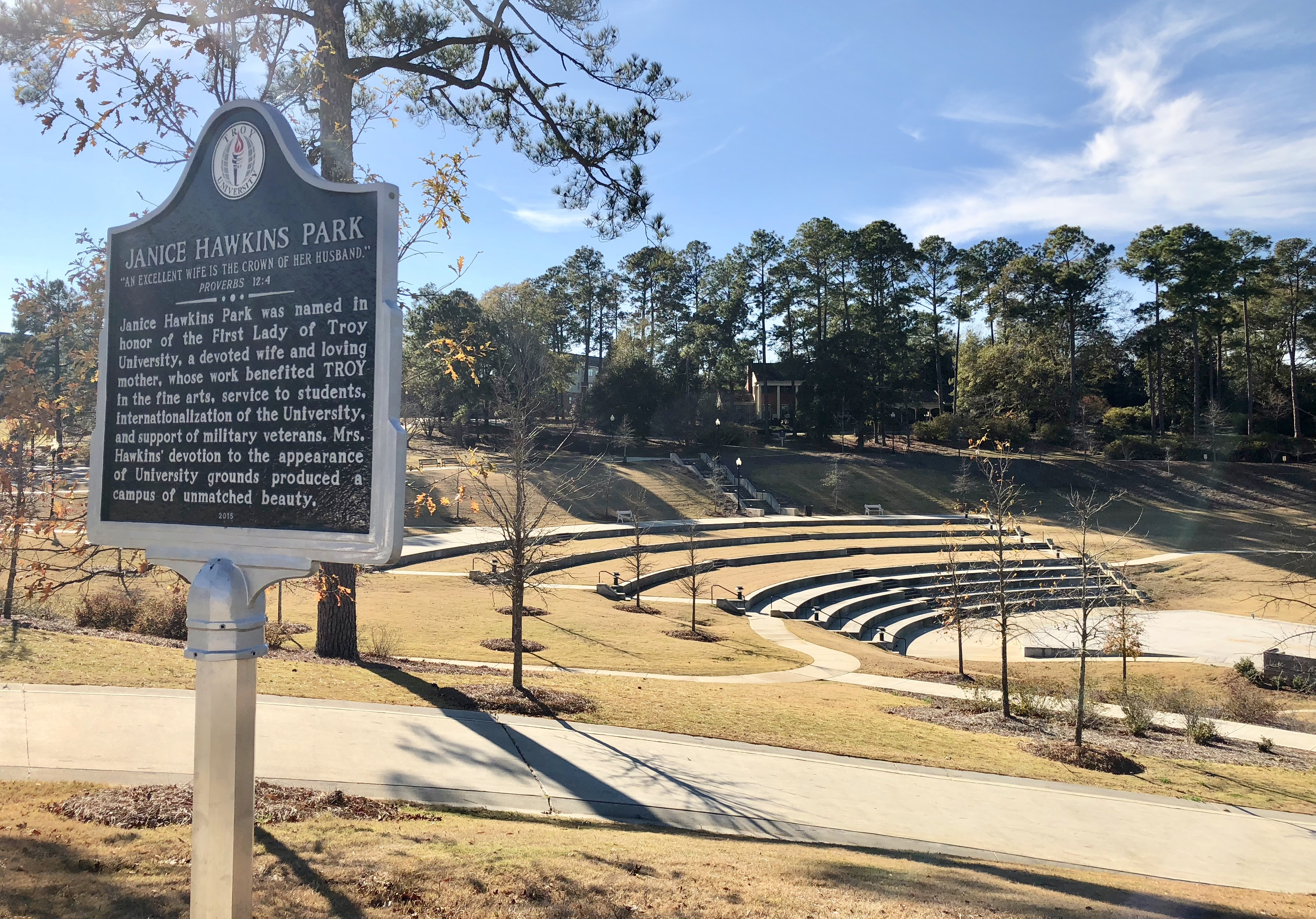 View of amphitheater at the Janice Hawkins Park.