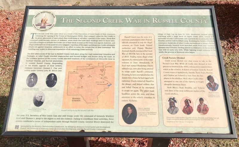 The Second Creek War in Russell County Marker image. Click for full size.