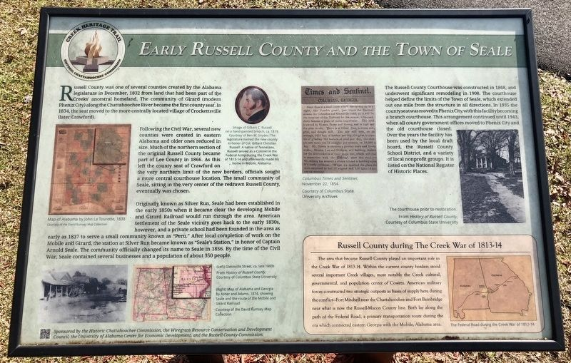 Early Russell County and the Town of Seale Marker image. Click for full size.